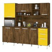 Armário de Cozinha Diamante 7 Portas Malbec com Amarelo - Vitamov