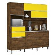 Armário de Cozinha Elegance 1.8 Malbec com Amarelo - Vitamov