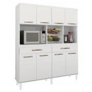 Armario de Cozinha Samanta 1,36m Branco Brilho - Trinobél Móveis