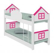 Beliche infantil Casa Janelinha Rosa - Divaloto Móveis