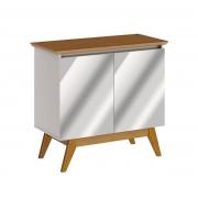 Buffet Classic 2 Portas Off White com Freijó e Espelho - Imcal Móveis