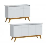 Conjunto Buffet Classic 3 e 4 Portas Branco - Imcal Móveis