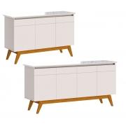 Conjunto Buffet Classic 3 e 4 Portas Off White - Imcal Móveis