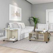 Conjunto Sala de Estar Cancun Mesa de Centro Mesa Lateral Off White com Demolição - Patrimar Móveis
