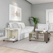 Conjunto Sala de Estar Cancun Mesa de Centro Mesa Lateral Off White com Imbuia - Patrimar Móveis