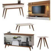 Conjunto Sala de Estar Painel Suspenso 1.8 + Buffet Espelhado + Aparador + Mesa Centro + Mesa Lateral - Imcal Móveis