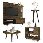 Conjunto Sala de Estar Retrô Rack + Painel + Mesa Centro + Mesa Apoio + Aparador - Móveis Bechara