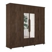 Guarda Roupa 6 Portas Ágata com espelho Noce - FabriMóveis