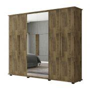 Guarda-Roupa Casal Estrela 6 Portas com Espelho Amadeirado - RV Móveis