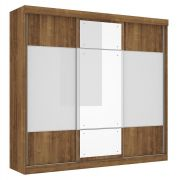 Guarda-Roupa Fortaleza com Espelho Canela com Off White - Mirarack