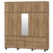 Guarda-Roupa Triplex Gávea 5 Portas com Espelho Canelato - Trinobél Móveis