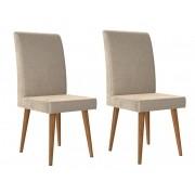 Jogo 2 Cadeiras Jade com Suede Bege - RV Móveis