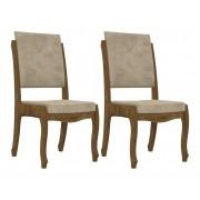 Jogo 2 Cadeiras Onix II Imbuia com Suede Bege - RV Moveis