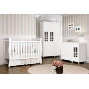 Jogo de Quarto para Bebê Completo Davi Branco Brilho - Imaza Móveis