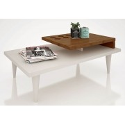 Mesa de Centro Splendore Off White com Amendoa - Lukaliam Moveis