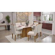 Mesa de Jantar Amalfi com 6 Cadeiras Creta Madero Canela com Off White e Champagne - Lukaliam Móveis