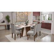 Mesa de Jantar Amalfi com 6 Cadeiras Creta Madero Noce com Off White e Titânio - Lukaliam Móveis