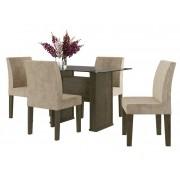 Mesa de Jantar com 4 Cadeiras Europa Imbuia com Suede Bege - RV Moveis