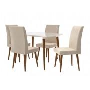 Mesa de Jantar com 4 Cadeiras Jade Off White com Suede Bege - RV Móveis