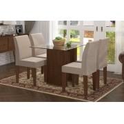 Mesa de Jantar com 4 Cadeiras Zafira Castanho com Suede Bege - RV Moveis