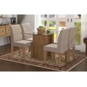 Mesa de Jantar com 4 Cadeiras Zafira Naturale com Suede Bege - RV Moveis