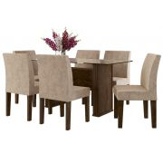 Mesa de Jantar com 6 Cadeiras Europa Noce com Pena Caramelo - RV Móveis