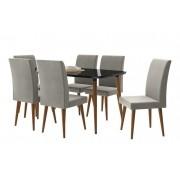Mesa de Jantar com 6 Cadeiras Jade Black com Naturale Cinza - RV Móveis