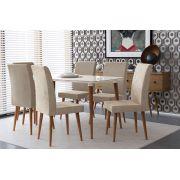 Mesa de Jantar com 6 Cadeiras Jade Off White com Pena Caramelo - RV Móveis