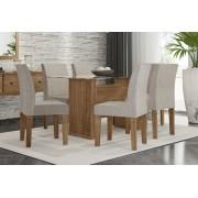 Mesa de Jantar com 6 Cadeiras Zafira Naturale com Pena Caramelo - RV Móveis