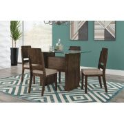 Mesa de Jantar Europa com 4 Cadeiras Esmeralda Noce com Pena Caramelo - RV Móveis