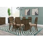 Mesa de Jantar Europa com 6 Cadeiras Esmeralda Imbuia com Suede Bege - RV Moveis