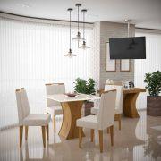 Mesa de Jantar Gabrielle com 4 Cadeiras Creta Madero Canela com Off White e Champagne - Lukaliam Móveis