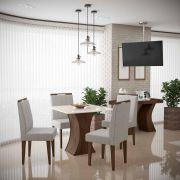 Mesa de Jantar Gabrielle com 4 Cadeiras Creta Madero Noce com Off White e Titânio - Lukaliam Móveis