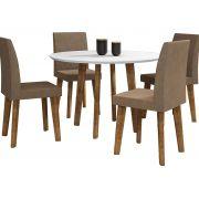 Mesa de Jantar Redonda Turmalina com 4 Cadeiras Pés Oblongo Branco Clean com Pena Caramelo - RV Móveis