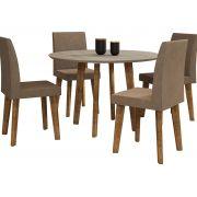 Mesa de Jantar Redonda Turmalina com 4 Cadeiras Pés Oblongo Niágara com Pena Caramelo - RV Móveis