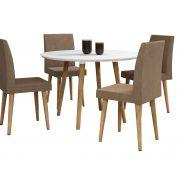 Mesa de Jantar Redonda Turmalina com 4 Cadeiras Pés Palito Branco Clean com Pena Caramelo - RV Móveis