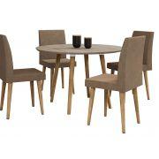 Mesa de Jantar Redonda Turmalina com 4 Cadeiras Pés Palito Niágara com Pena Caramelo - RV Móveis