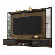Painel para TV Ametista Madeira Rústica com Preto e Espelho - Móveis Bechara