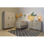 Quarto de Bebê Cinza Retrô Completo 3 Portas - Matic Móveis