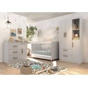 Quarto de Bebê Completo Floc 3 Portas Cinza com Branco Acetinado - MoveisAqui