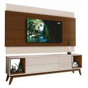 Rack com Painel Delux 2.2 Off White com Natural - MoveisAqui