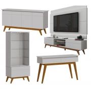 Sala de Estar Rack com Painel 1.8 + Buffet + Aparador + Cristaleira Branco - Imcal Móveis