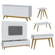 Sala de Estar Rack com Painel 2.2 + Buffet + Aparador + Mesa de Centro + Mesa Lateral Branco - Imcal Móveis