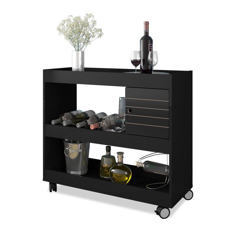 Aparador Bar Cristal Preto - Móveis Bechara