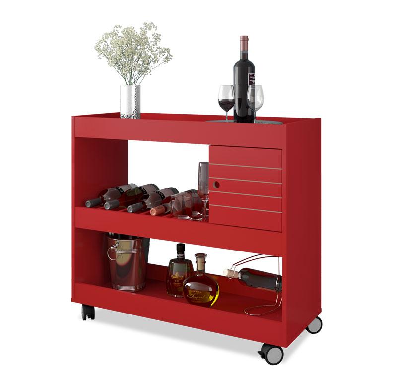 Aparador Bar Cristal Vermelho - Móveis Bechara