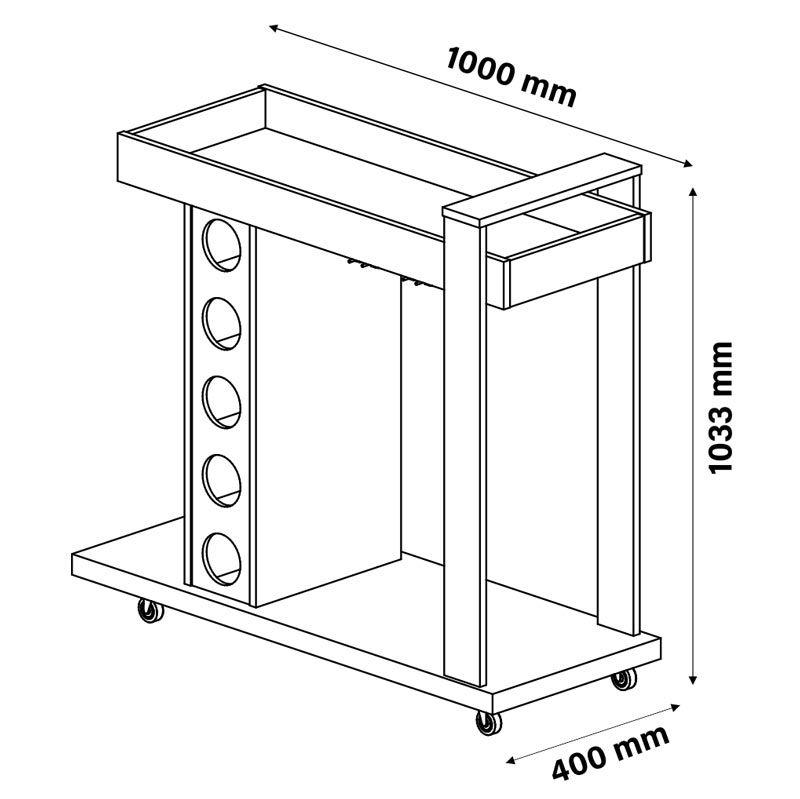 Aparador Bar Golden Conjunto Mesa de Centro Mesa Lateral Luminos Off White - Patrimar Móveis