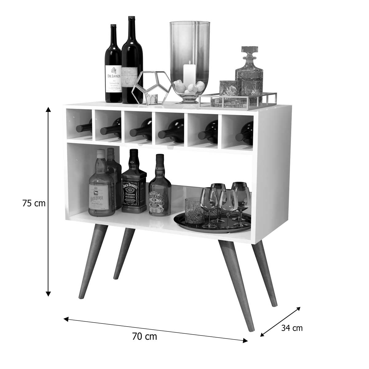 Aparador Bar Lorenzzo Branco - MóveisAqui