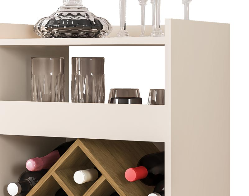 Aparador Barzinho com Adega Dior Off White com Cinamomo - Móveis Bechara