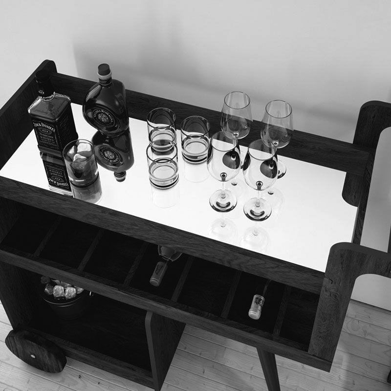 Aparador Barzinho Retrô Baden C/ Espelho Branco - Edn Móveis