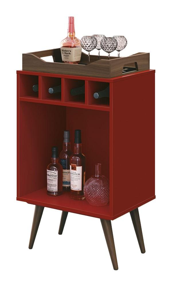 Aparador Barzinho Retrô c/ Adega Pub Vermelho - Edn Móveis
